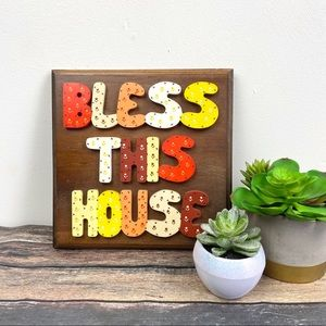 Vintage 1970s Bless This Home Wooden Wall Plaque